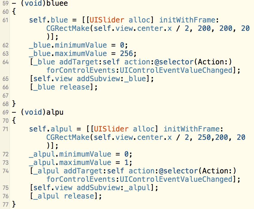 iOS-UI-创建3个UISlider-分别设置划过区域的颜⾊分别为红,黄,蓝-通过控制三个slider改变self.view的背景颜⾊