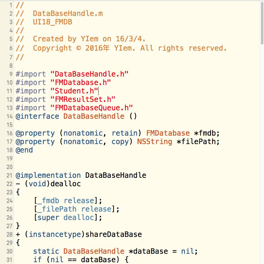 iOS-数据库-FMDB-第三方-插入数据列表-(附件2-DataBaseHanfle.h-DataBaseHanfle.h-Student.h-Student.m)