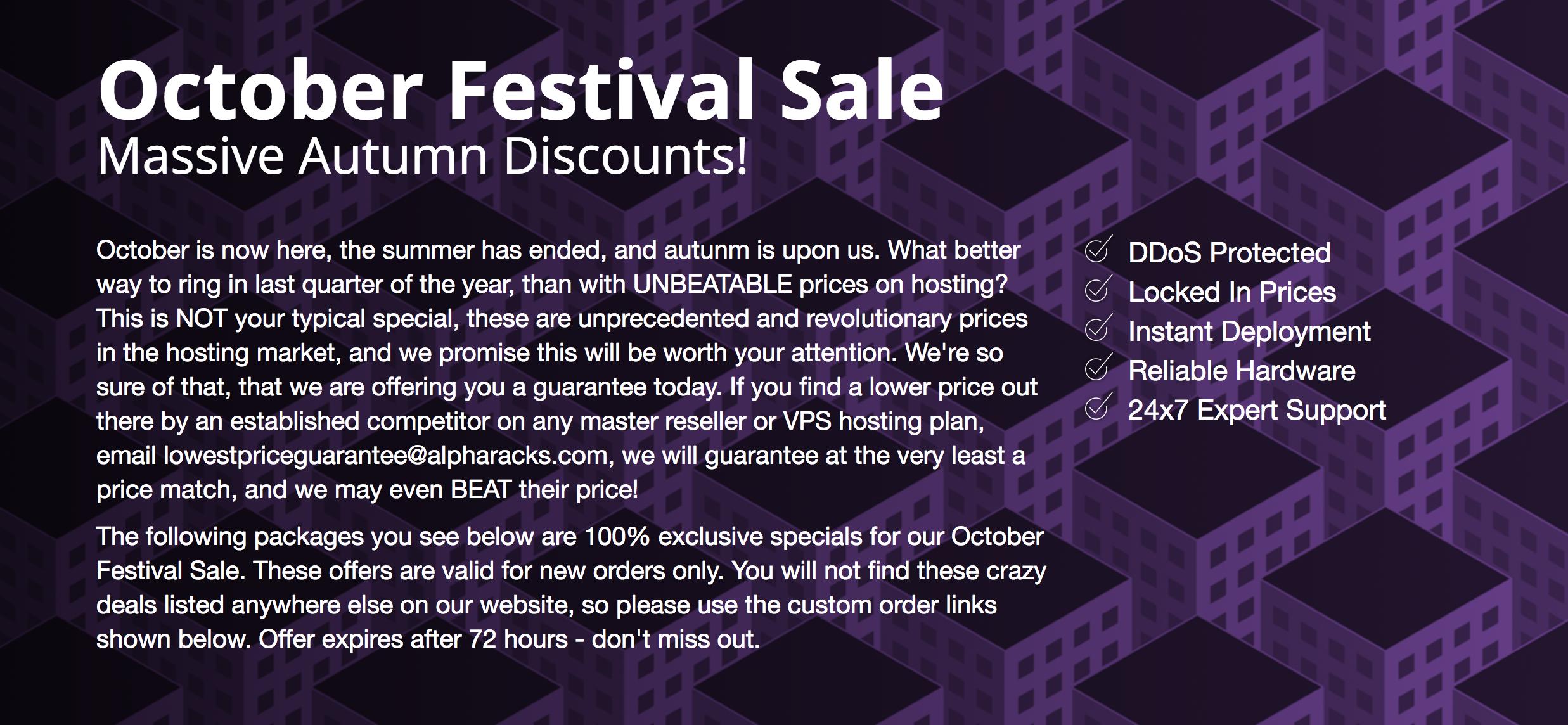 Alpharacks October Festival Sale