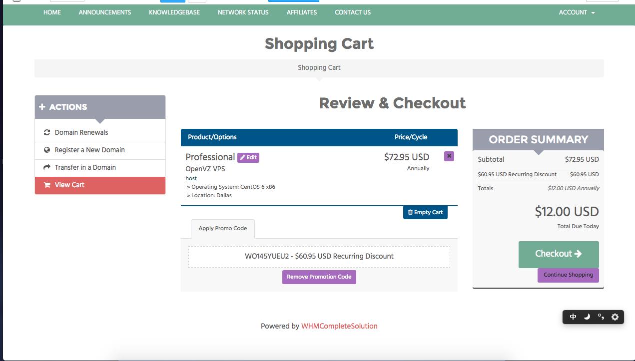chicagovps.net 的特价VPS, 官方原价标的是72.95$-- 现在只需要12$!1G内存,30G SSD硬盘,1500G的流量-一个ipv4地址