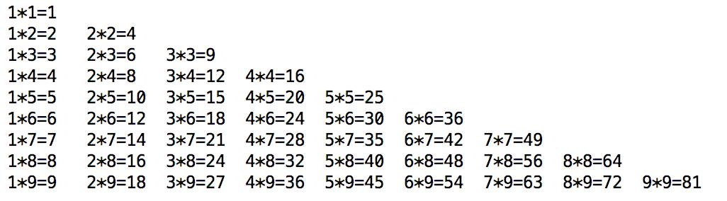 for循环实现99乘法表